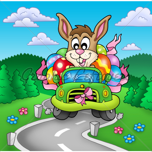 easter-bunny-driving-car-on-road